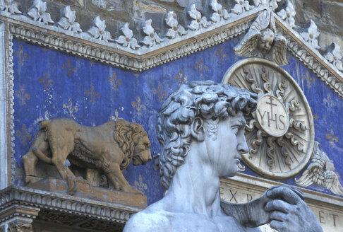 David's head, Piazza della Signoria, Florence, Italy - 00373HS