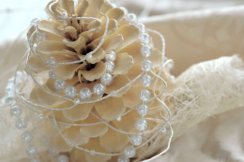 Christmas decoration with fir cone and pearl string, close-up - AS01040
