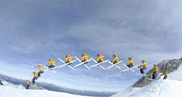 Skier performing jump, side view - 00558FF