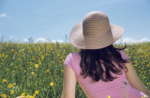 Woman sitting in flower field, rear view - LDF00091