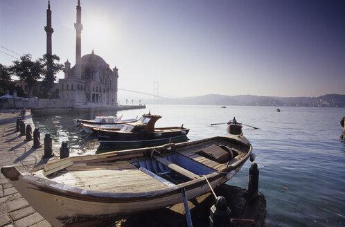 Ortakšy Camii at Bosporus,Turkey, fisherboats at the bay - MSF01569