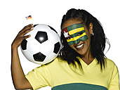 Female soccer fan from Togo, portrait - LMF00383