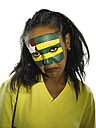 Woman with Togo flag painted on face, close-up, portrait - LMF00365