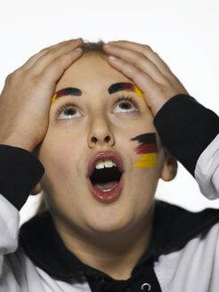 German football fan with hands on head - LMF00402