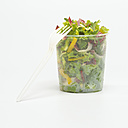 Fork by mixed salad in plastic bowl - WESTF00408