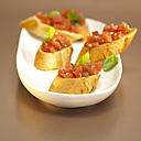 White bread with tomatoes and basil, bruschetta - WESTF00387