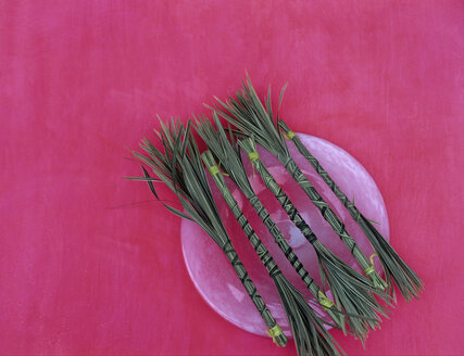 Bunched sedge grass on plate, studio shot - HOE00225