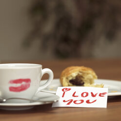 Cup of coffee with lipstick kiss, croissant and I love you-sign - WESTF02031