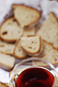 Bread basket and glass of wine - WESTF03805