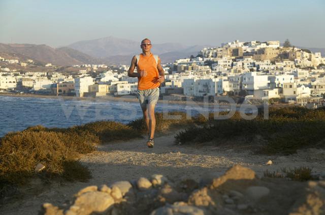 Greece, Naxos, jogging on the coast - MRF00855