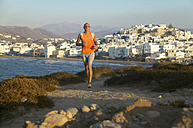 Greece, Naxos, jogging on the coast - MRF00855