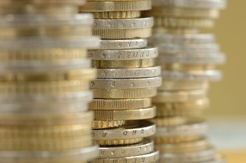 Piled euro coins, close-up - ASF03466