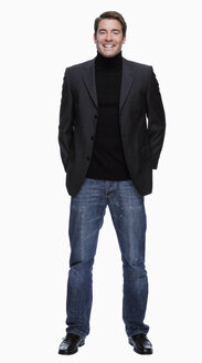 Young man in jeans and jacket, portrait - KMF01094