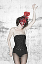 Woman in lingerie wearing a mask - TH00696