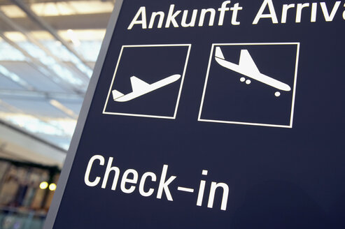 Germany, Bavaria, Munich Airport, Arrival, Check In, decal information - THF00762