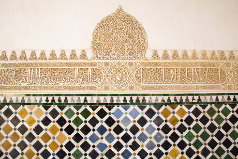 Spain, Andalucia, Grenada, Alhambra Palace, Casa Real decoration, close-up - GW00653