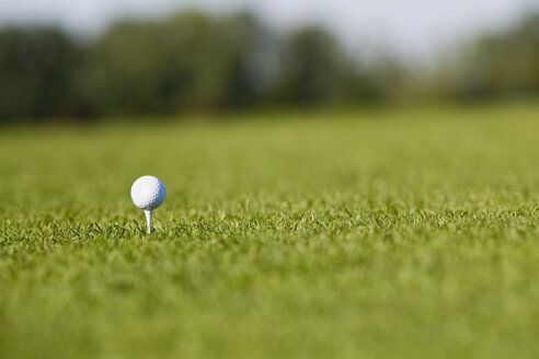Germany, Bavaria, Munich, Golf ball on golf course, close-up - RRF00166