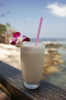 Thailand, Ko Tao island, Smoothie with straw - GAF00034