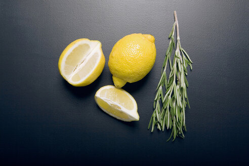 Lemons and rosemary, elevated view - MNF00147
