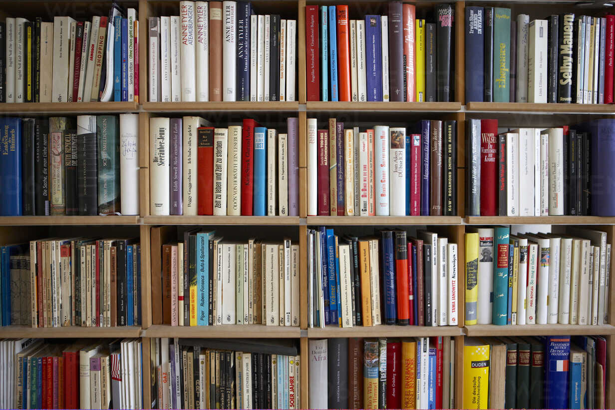 Various books on shelves, full frame - KSWF00179 - Kai Schwabe/Westend61