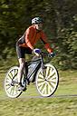 Germany, Bavaria, Oberland, Man mountain biking - DSF00119