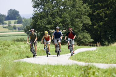 Germany, Bavaria, Oberland, Four mountainbikers riding across path - DSF00053