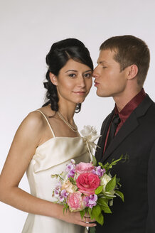 Bride and groom on wedding day ,portrait - NHF00848