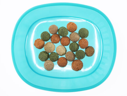 Animal food on plastic plate, elevated view - THF00859