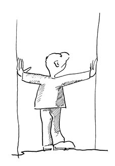 Illustration, Man with arms outstretched, rear view - KTF00011