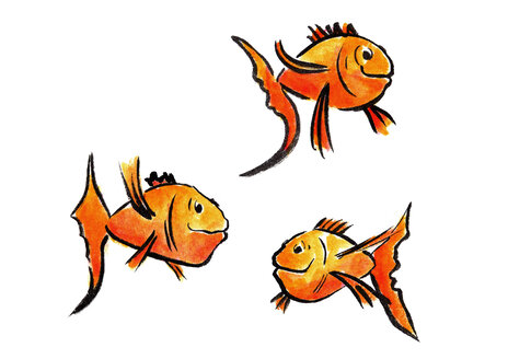 Illustration, three fish - KTF00008