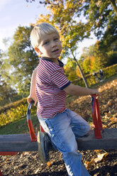 Little boy (4-5) playing on a swing - SMO00262