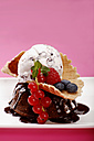 Scoops of Stracciatella and chocolate ice cream with wild berries, close-up - SCF00324