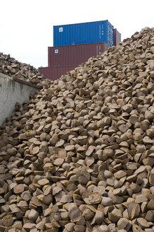 Germany, Stuttgart, Harbour, Scrapyard, Pile of scrap casting - AWD00329