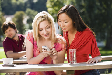 Germany, Bavaria, Upper Bavaria, Two young women in beer garden looking amused at mobile phone - WESTF09582