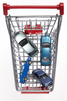 Cars in shopping cart, elevated view - THF01003