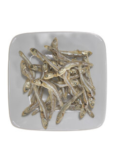 Dried anchovies on plate, elevated view - THF00982