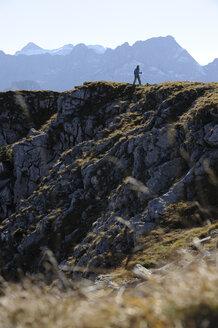 Austria, Karwendel, Rissbachtal, Woman Nordic Walking - MRF01126