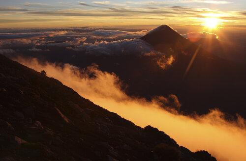 Guatemala, Acatenango volcano with sunrise - RM00316