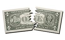 Torn US Dollar note, close-up - TCF01136