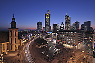 Germany, Frankfurt on the Main, Financial district at night, elevated view - RUE00109