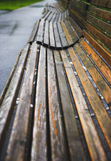 Park benches in a row - WWF00436