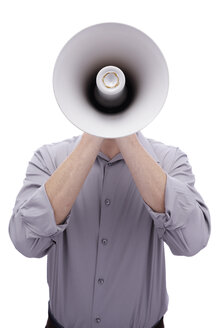 Young man holding megaphone in front of his face - BMF00506