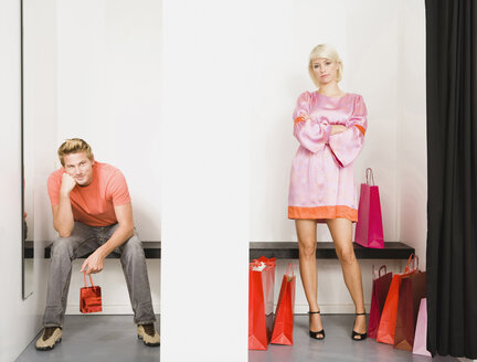 Couple in shop fitting room - WESTF11108