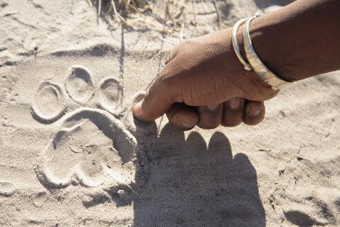 Africa, Botswana, Okavango Delta, man pointing on animal foot print - PK00336