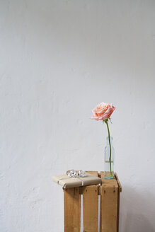 Gift parcel and rose on wooden box - JRF00104
