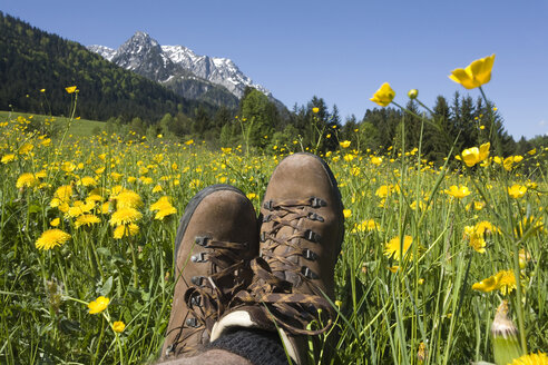 Austria, Tyrol, Kaisergebirge, Hiker relaxing on meadow, close-up - GWF00979