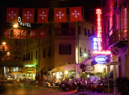 Italy, Tuscany, Pisa, Piazza dei Miracoli, Via Santa Maria at night - PSF00253