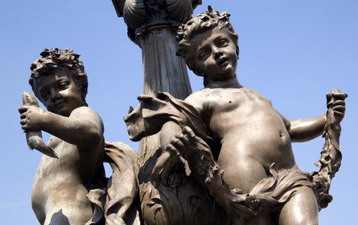 France, Paris, Pont Alexandre III, Bronze statue, close up - PSF00202