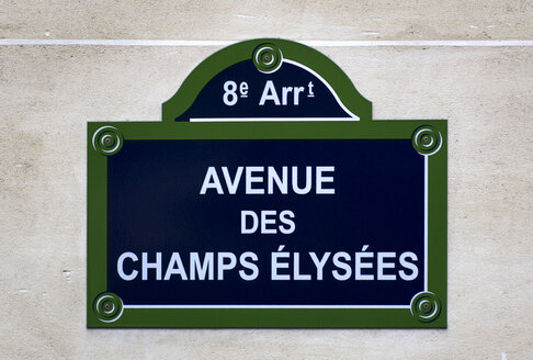France, Paris, road sign, Avenue des Champs Elysees, close up - PSF00199