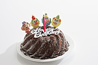 Birthday cake with sugar clowns, elevated view - 11180CS-U